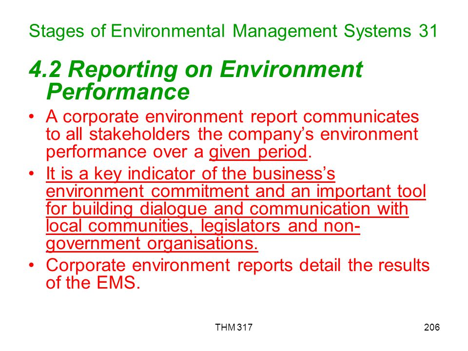 Stages of Environmental Management Systems 31