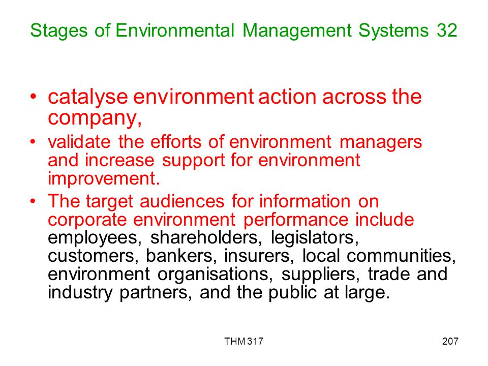 Stages of Environmental Management Systems 32