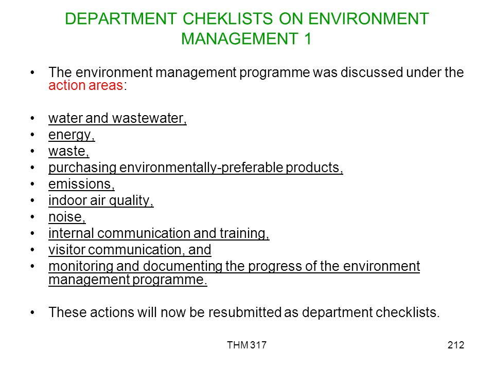 DEPARTMENT CHEKLISTS ON ENVIRONMENT MANAGEMENT 1