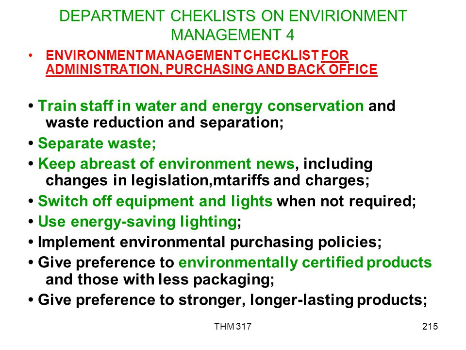DEPARTMENT CHEKLISTS ON ENVIRIONMENT MANAGEMENT 4