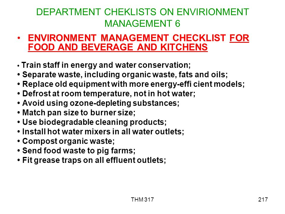 DEPARTMENT CHEKLISTS ON ENVIRIONMENT MANAGEMENT 6