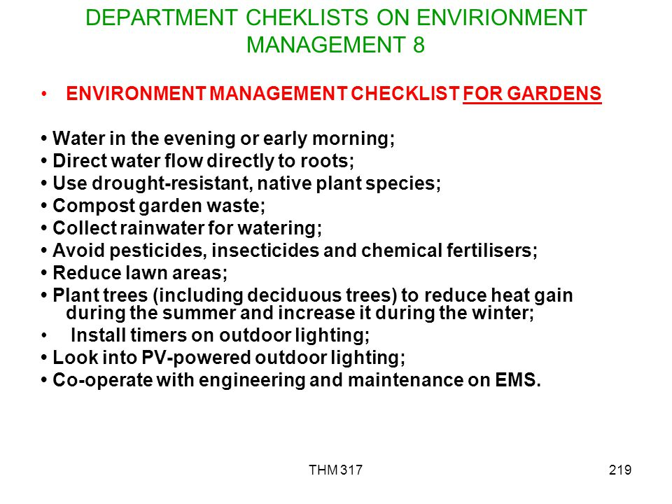 DEPARTMENT CHEKLISTS ON ENVIRIONMENT MANAGEMENT 8