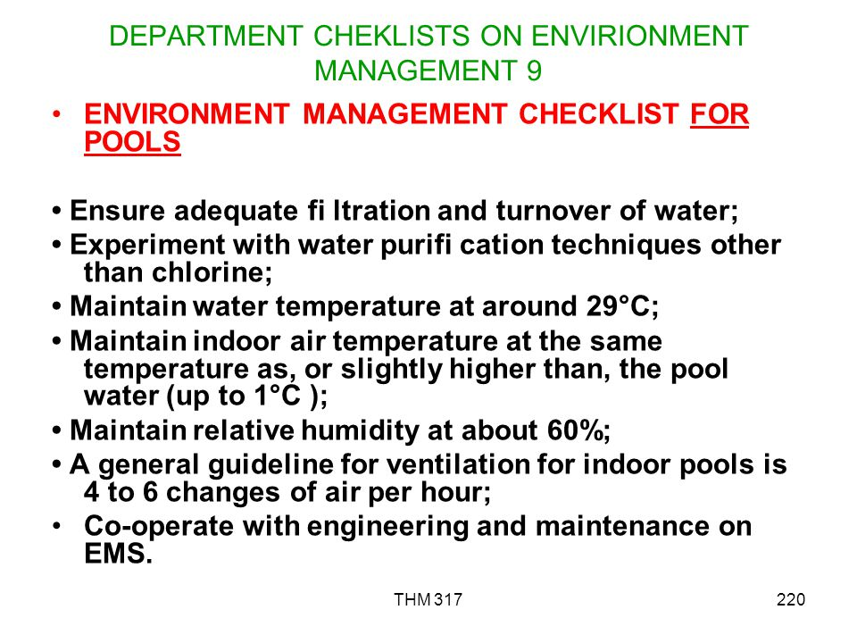 DEPARTMENT CHEKLISTS ON ENVIRIONMENT MANAGEMENT 9