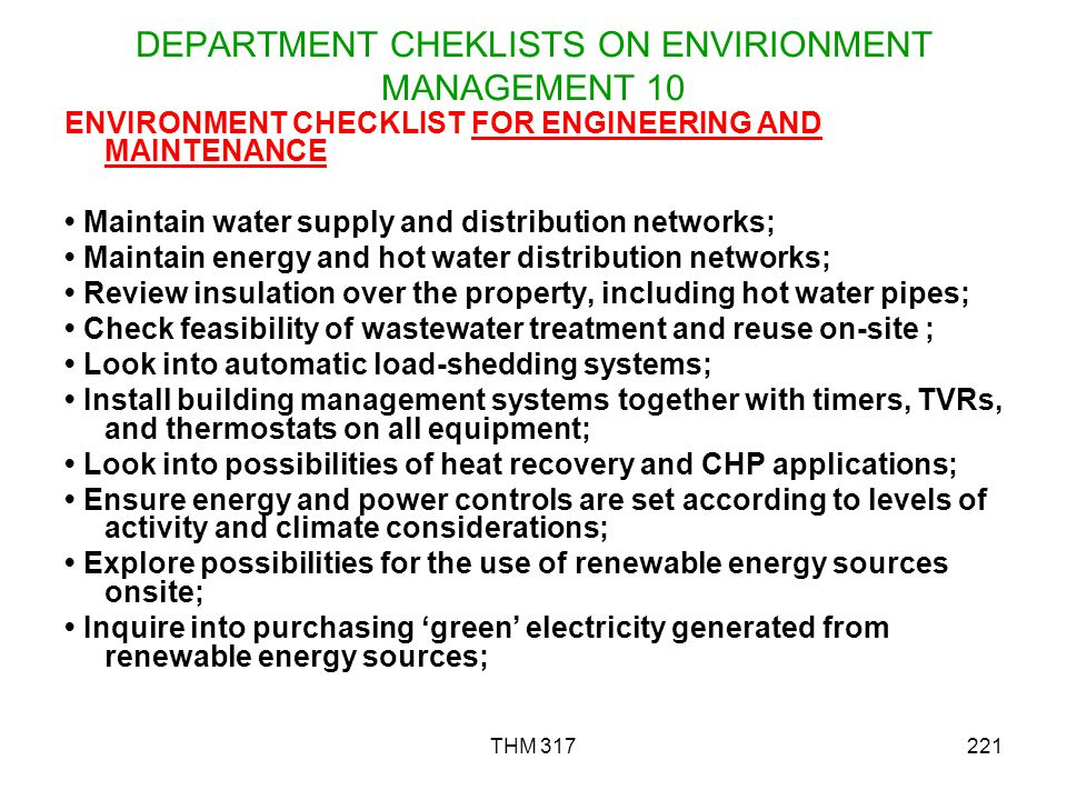 DEPARTMENT CHEKLISTS ON ENVIRIONMENT MANAGEMENT 10