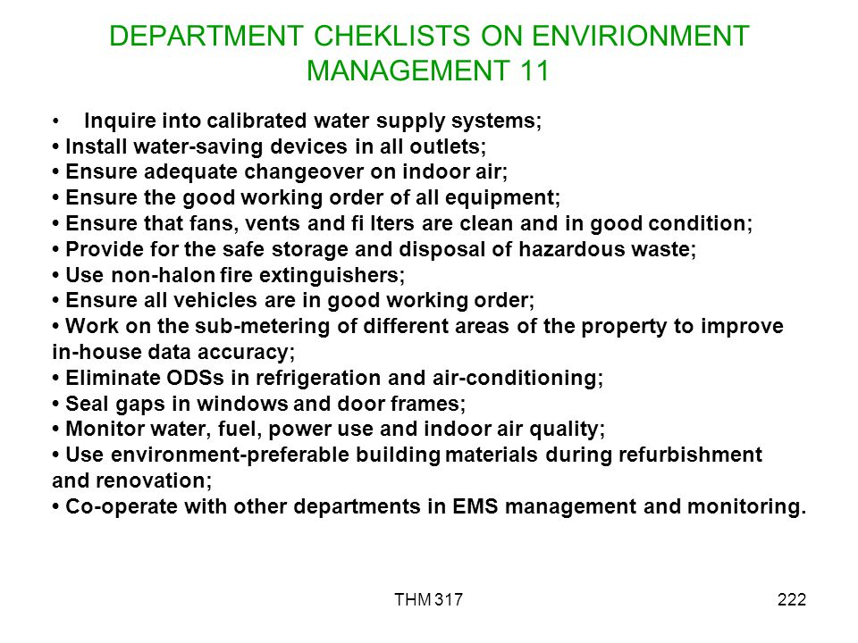 DEPARTMENT CHEKLISTS ON ENVIRIONMENT MANAGEMENT 11
