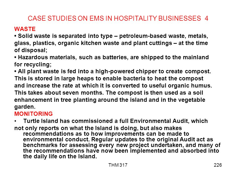 CASE STUDIES ON EMS IN HOSPITALITY BUSINESSES 4