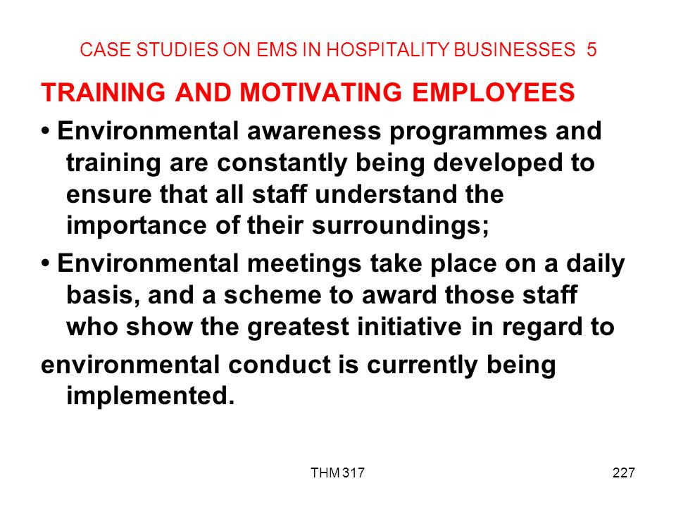 CASE STUDIES ON EMS IN HOSPITALITY BUSINESSES 5