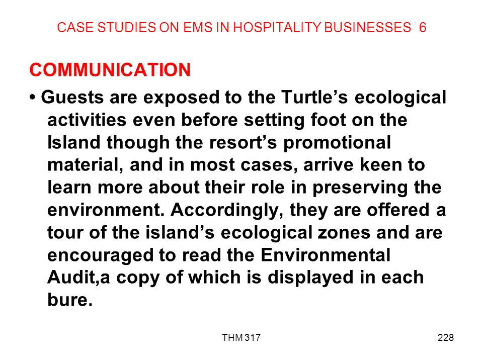 CASE STUDIES ON EMS IN HOSPITALITY BUSINESSES 6