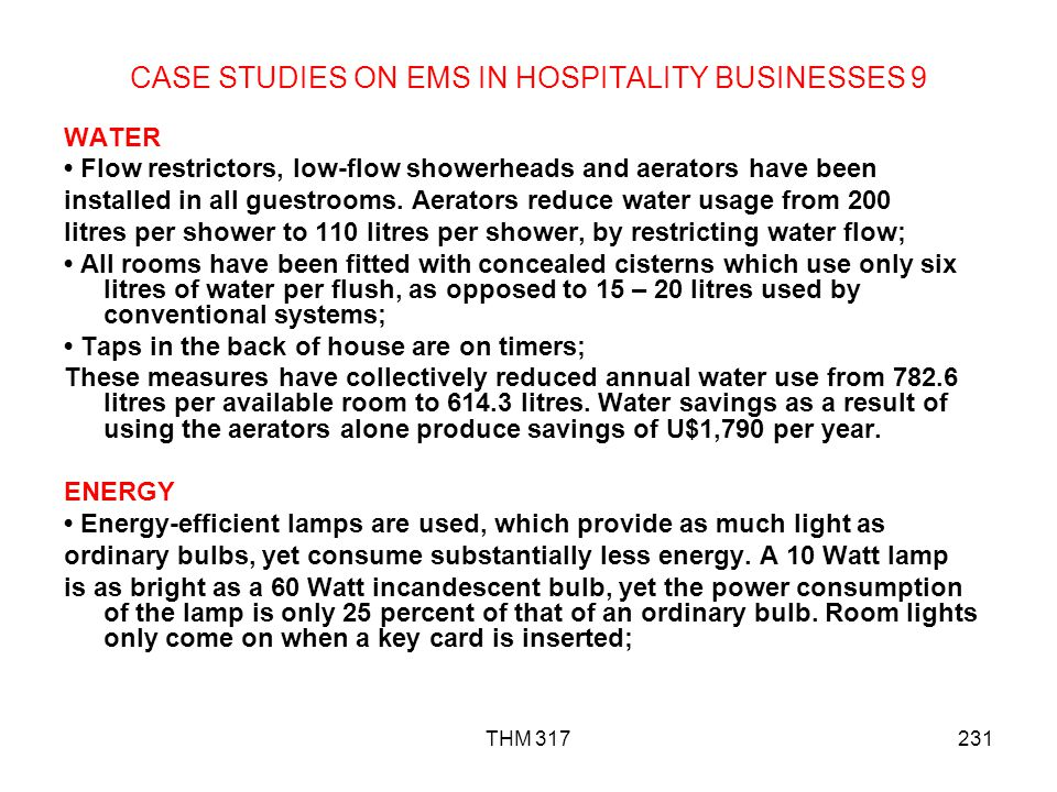 CASE STUDIES ON EMS IN HOSPITALITY BUSINESSES 9