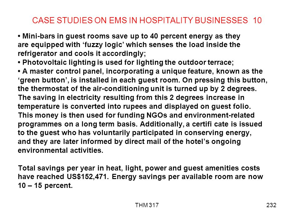 CASE STUDIES ON EMS IN HOSPITALITY BUSINESSES 10