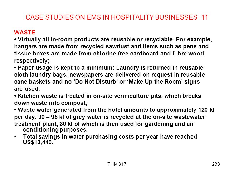 CASE STUDIES ON EMS IN HOSPITALITY BUSINESSES 11