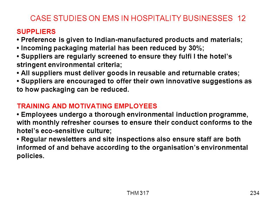 CASE STUDIES ON EMS IN HOSPITALITY BUSINESSES 12