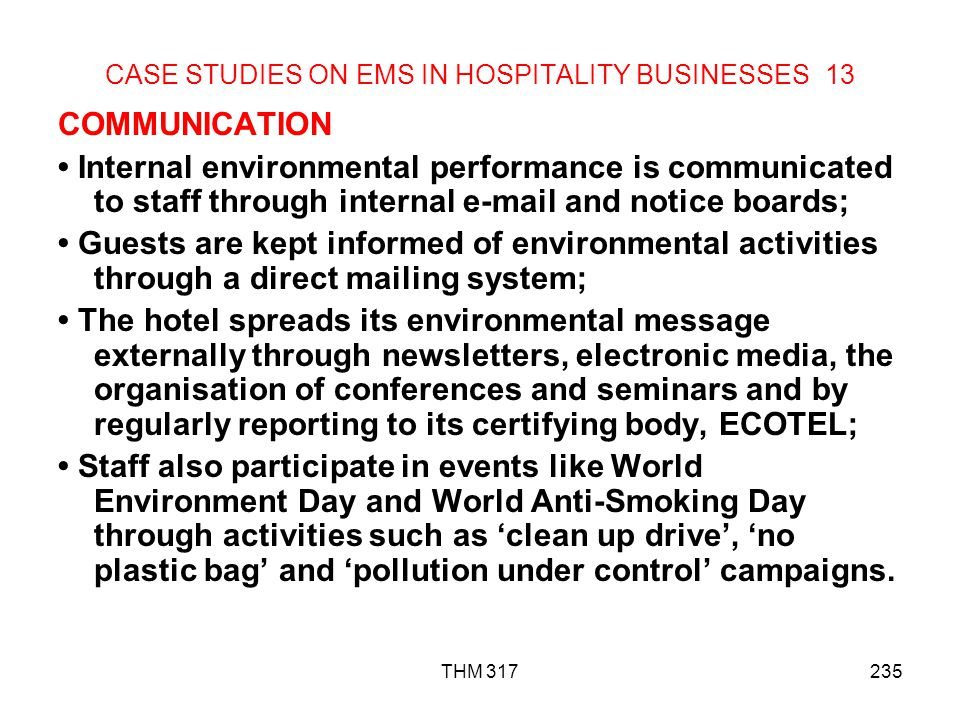 CASE STUDIES ON EMS IN HOSPITALITY BUSINESSES 13
