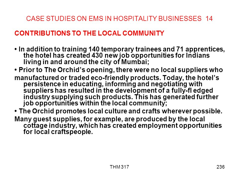 CASE STUDIES ON EMS IN HOSPITALITY BUSINESSES 14
