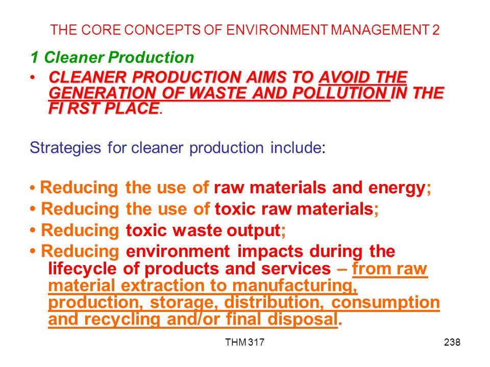 THE CORE CONCEPTS OF ENVIRONMENT MANAGEMENT 2