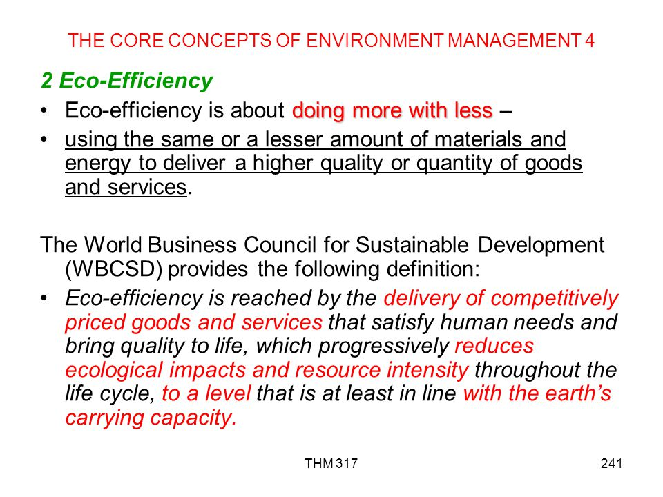 THE CORE CONCEPTS OF ENVIRONMENT MANAGEMENT 4
