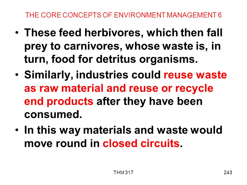 THE CORE CONCEPTS OF ENVIRONMENT MANAGEMENT 6