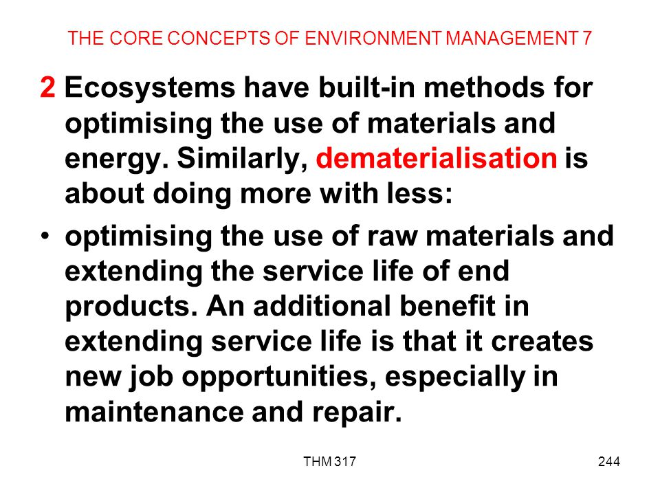 THE CORE CONCEPTS OF ENVIRONMENT MANAGEMENT 7