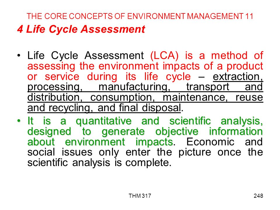 THE CORE CONCEPTS OF ENVIRONMENT MANAGEMENT 11