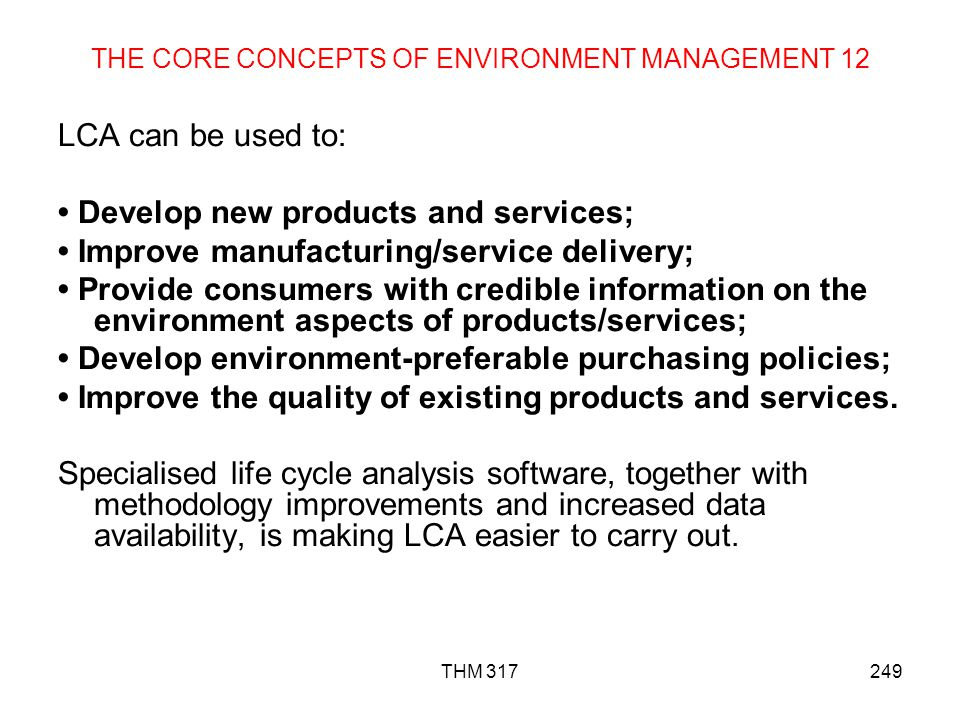 THE CORE CONCEPTS OF ENVIRONMENT MANAGEMENT 12