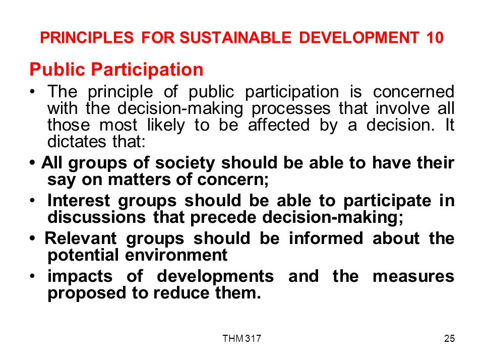 PRINCIPLES FOR SUSTAINABLE DEVELOPMENT 10