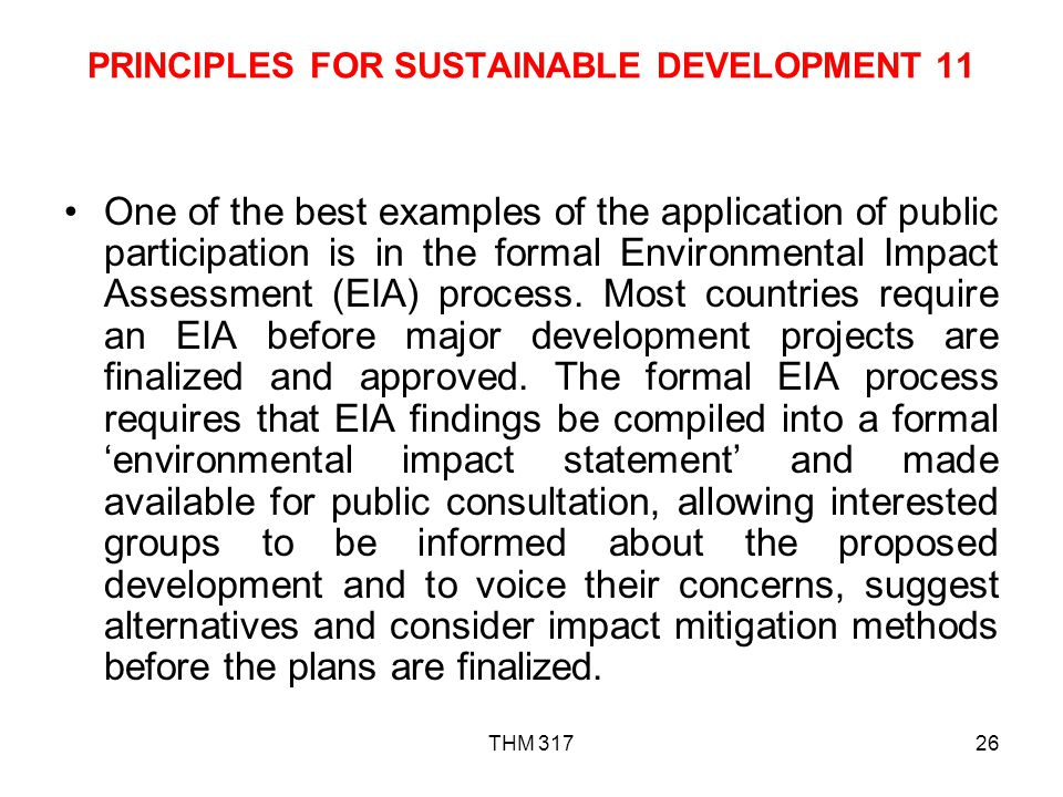 PRINCIPLES FOR SUSTAINABLE DEVELOPMENT 11