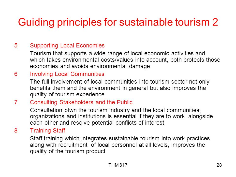 Guiding principles for sustainable tourism 2