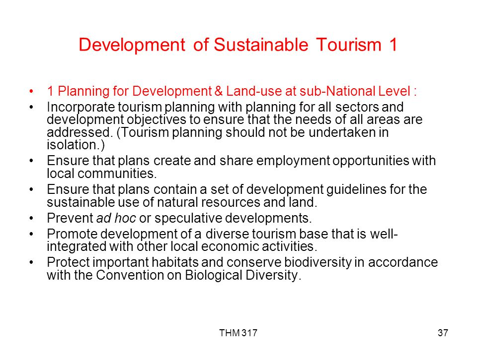 Development of Sustainable Tourism 1