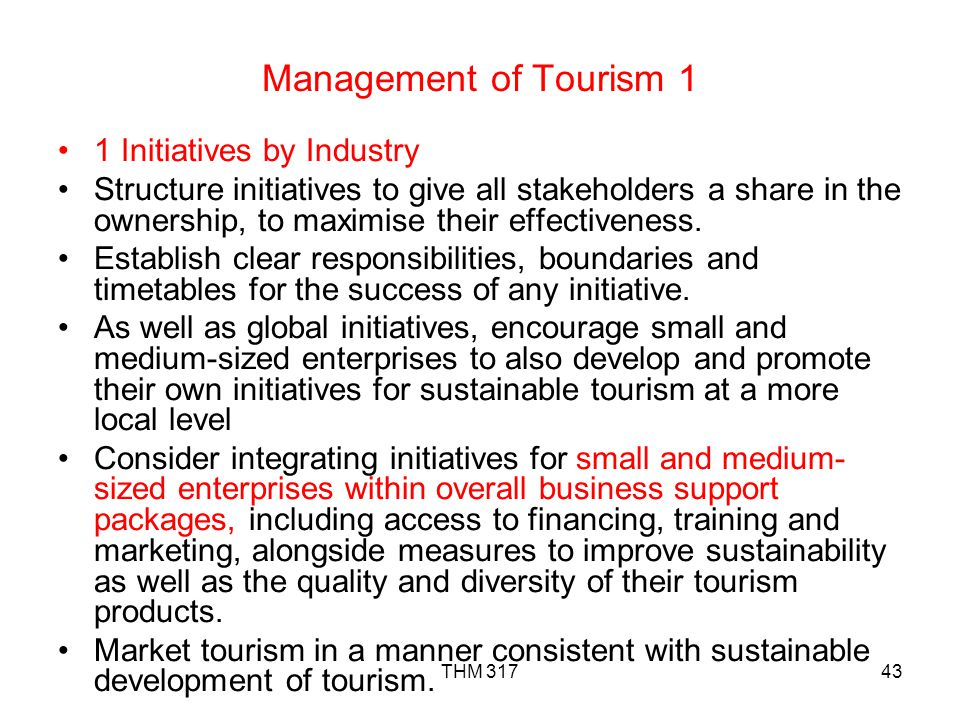 Management of Tourism 1 1 Initiatives by Industry