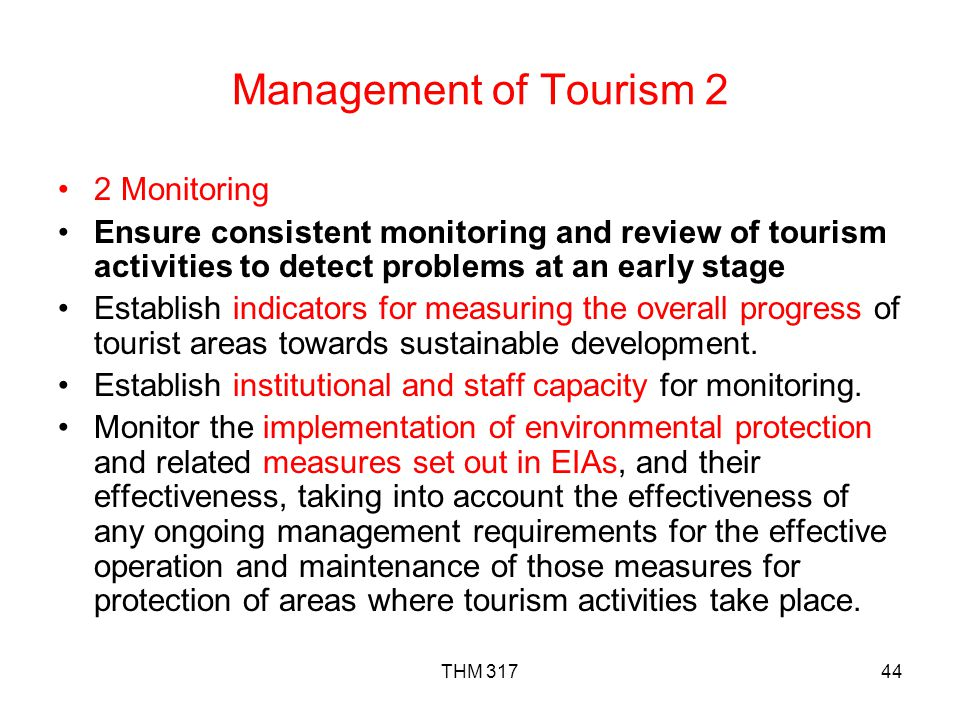 Management of Tourism 2 2 Monitoring