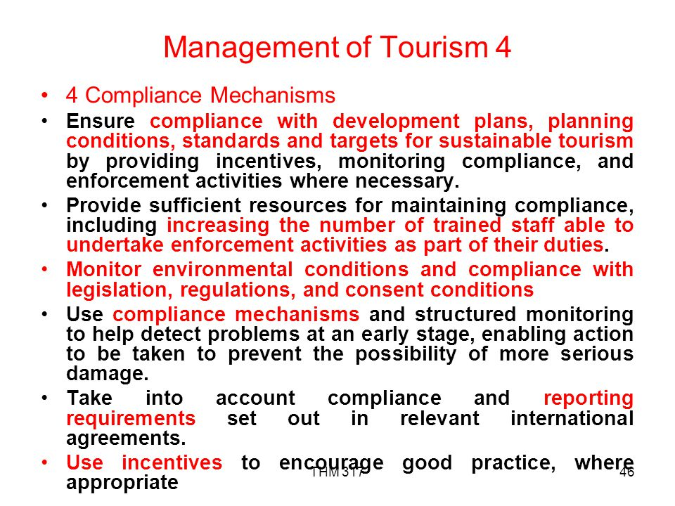Management of Tourism 4 4 Compliance Mechanisms