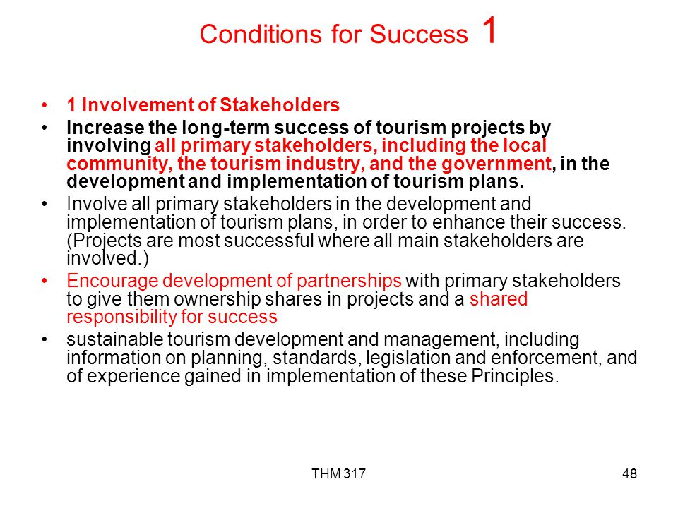 Conditions for Success 1