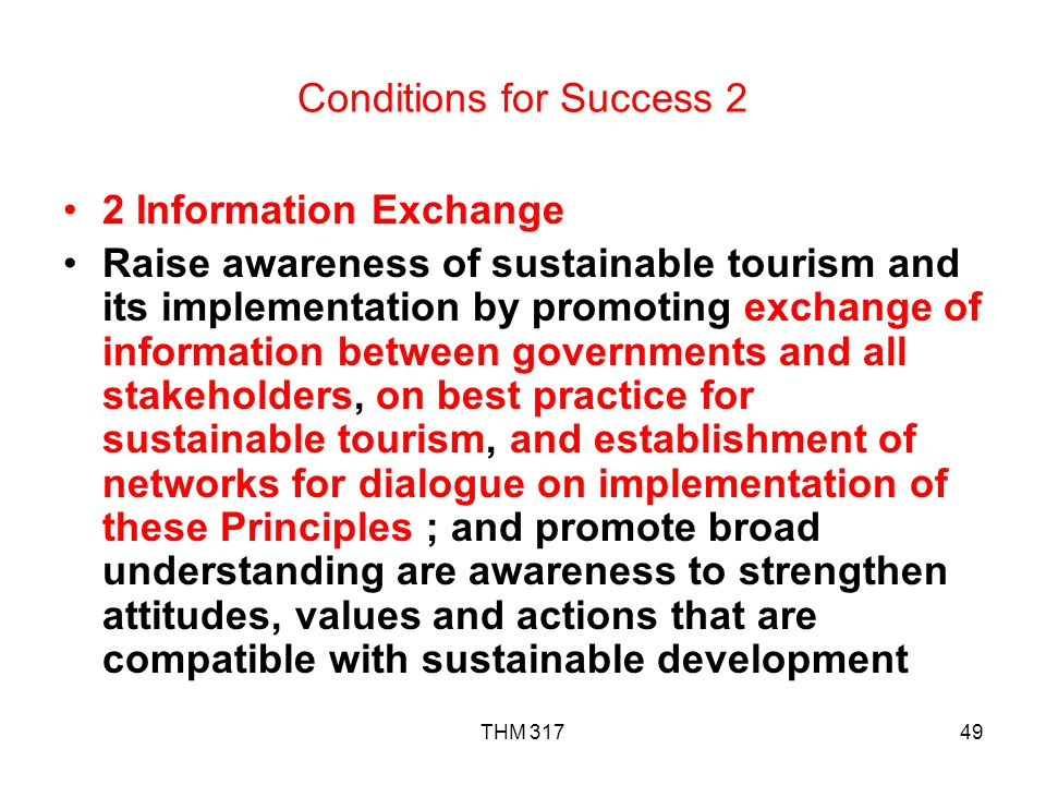 Conditions for Success 2