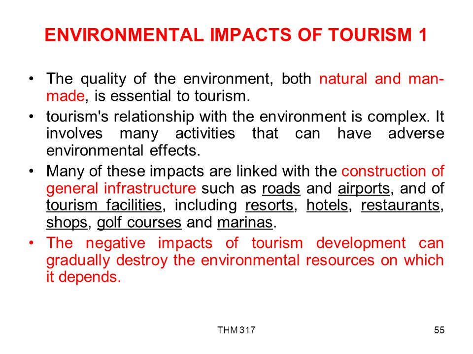 ENVIRONMENTAL IMPACTS OF TOURISM 1