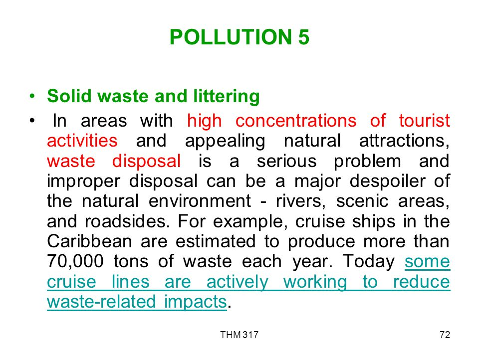 POLLUTION 5 Solid waste and littering