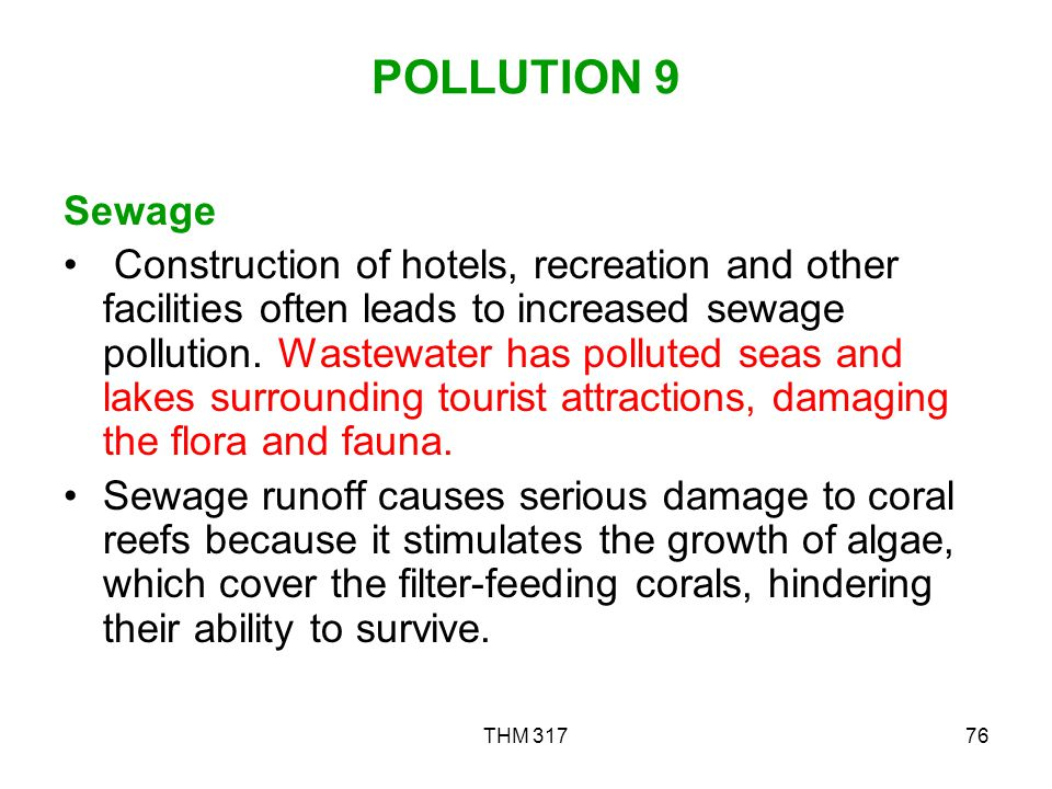 POLLUTION 9 Sewage.