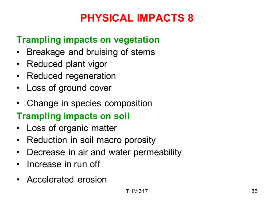 PHYSICAL IMPACTS 8 Trampling impacts on vegetation