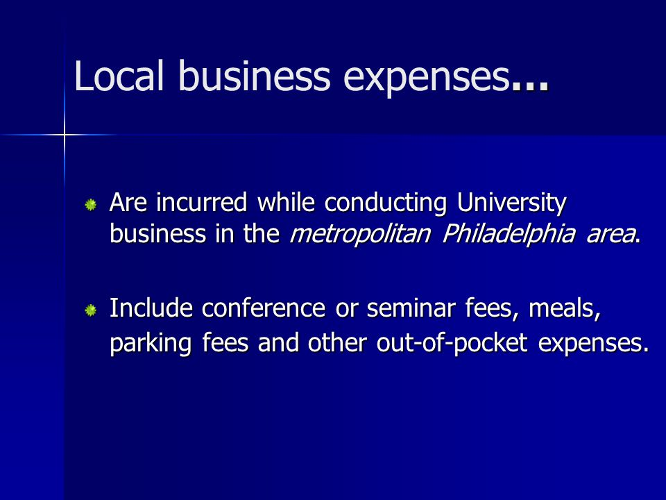 Local business expenses…