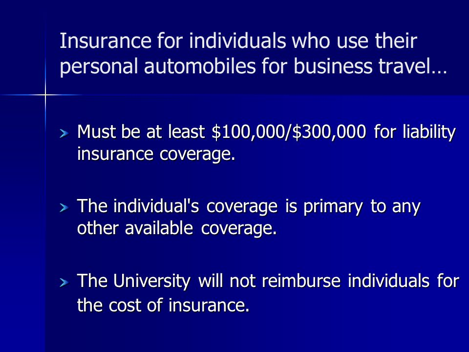 Insurance for individuals who use their personal automobiles for business travel…