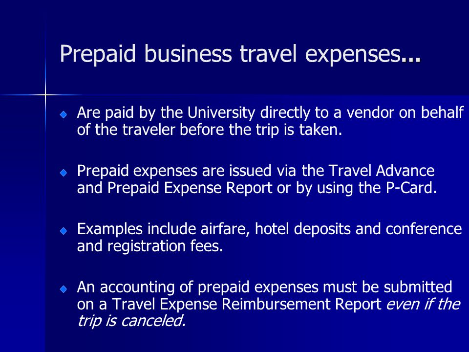 Prepaid business travel expenses…