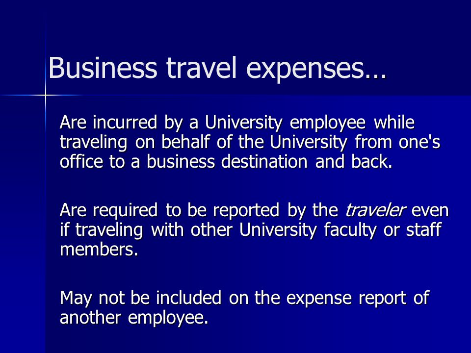 Business travel expenses…