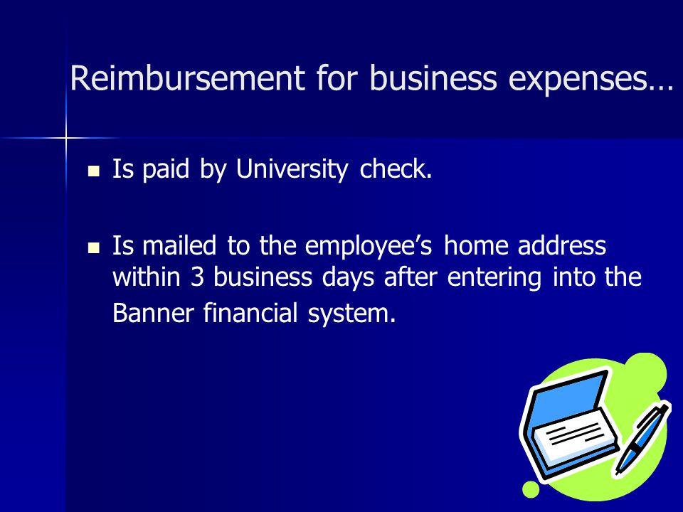 Reimbursement for business expenses…