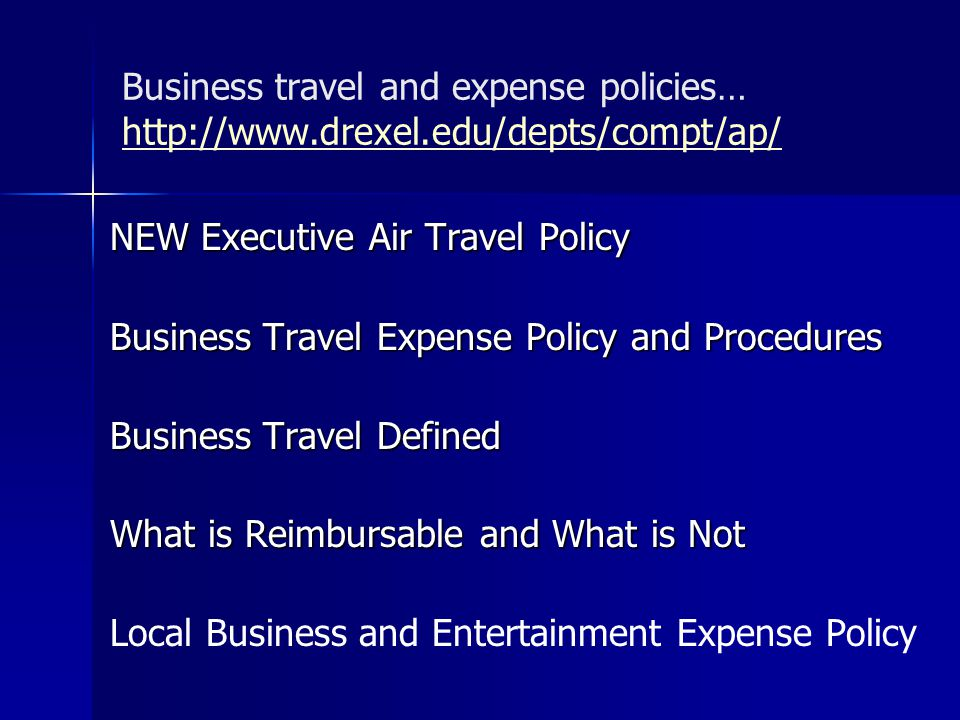 NEW Executive Air Travel Policy