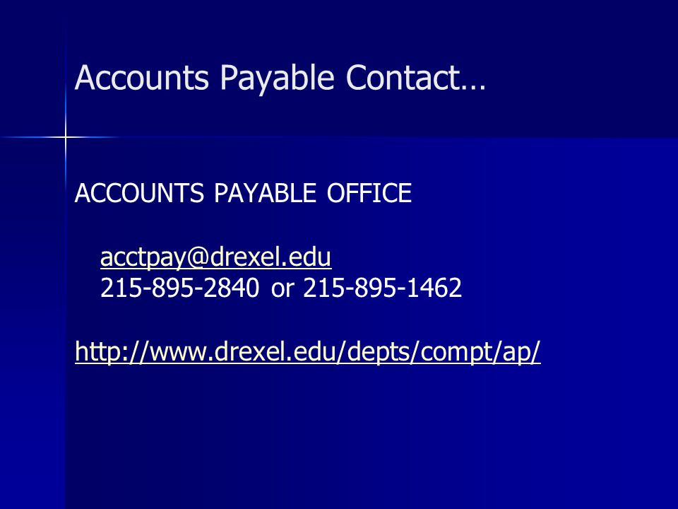 Accounts Payable Contact…