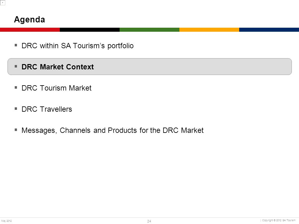 Agenda DRC within SA Tourism's portfolio DRC Market Context