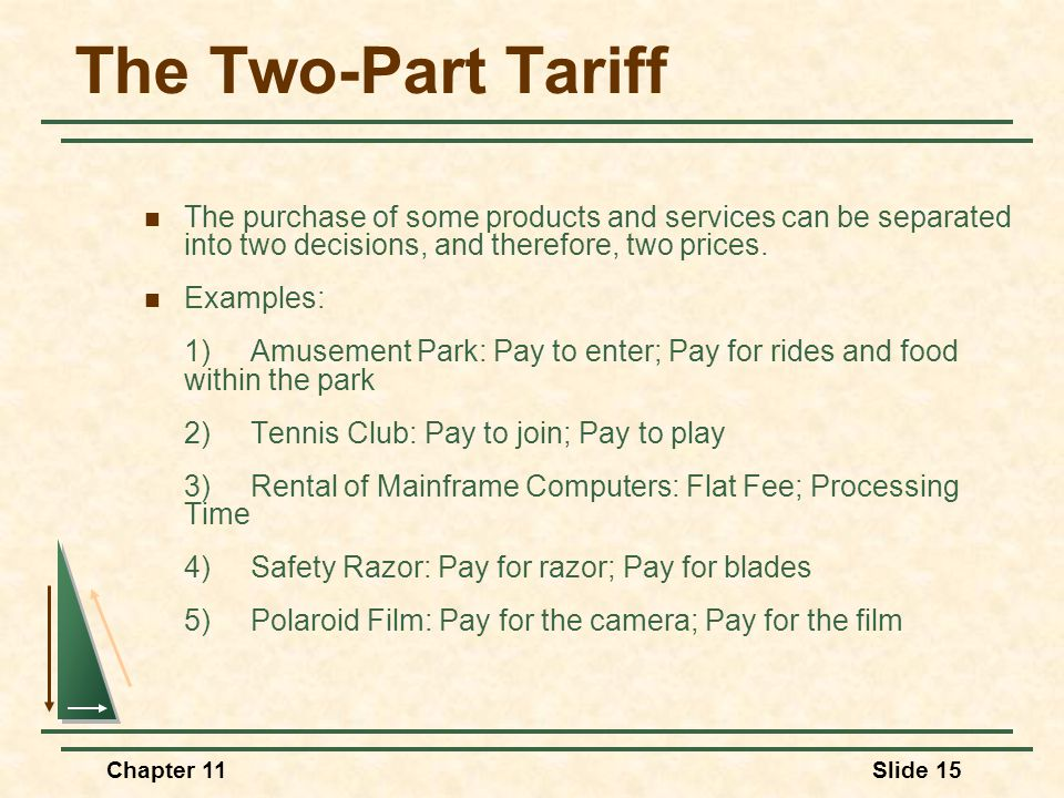 The Two-Part Tariff The purchase of some products and services can be separated into two decisions, and therefore, two prices.