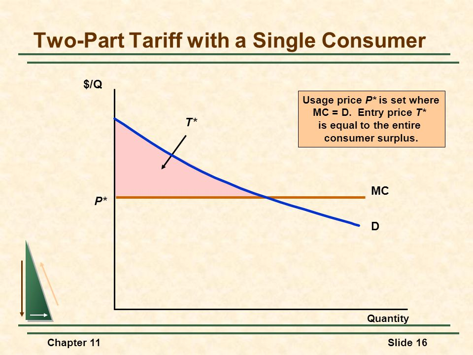 Two-Part Tariff with a Single Consumer