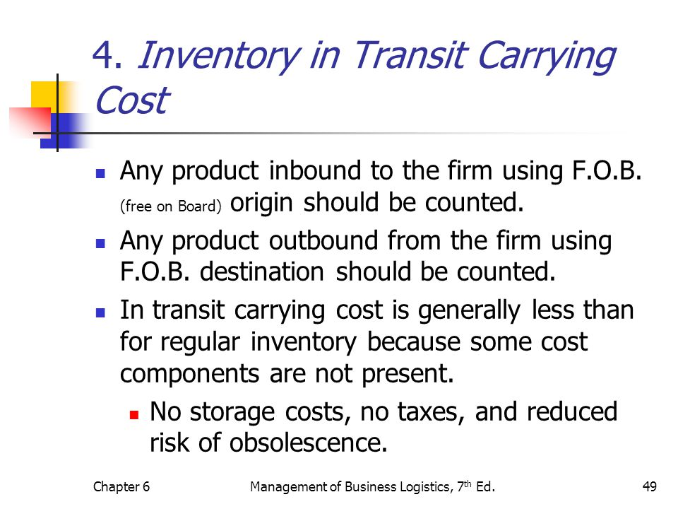 4. Inventory in Transit Carrying Cost