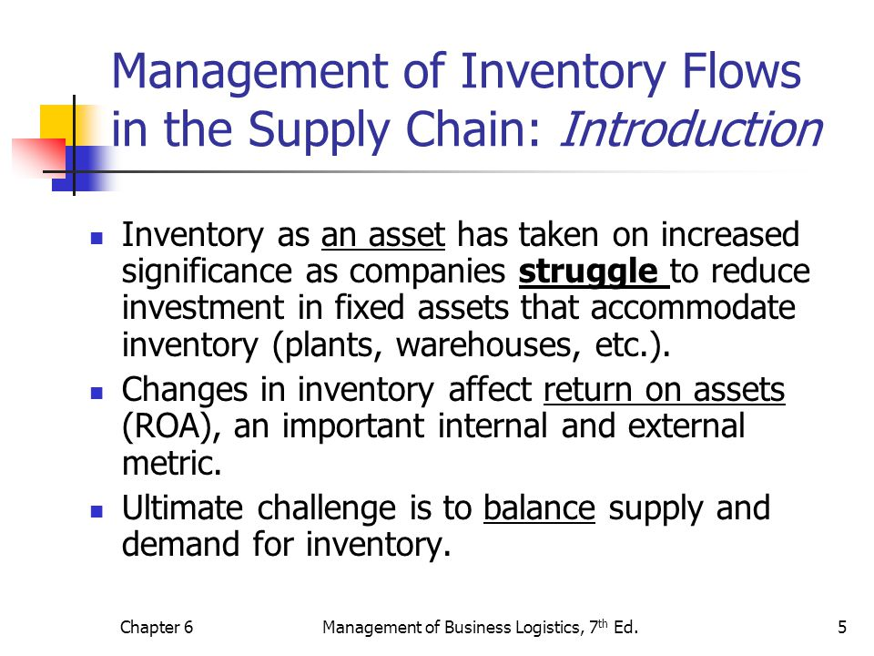 Management of Inventory Flows in the Supply Chain: Introduction