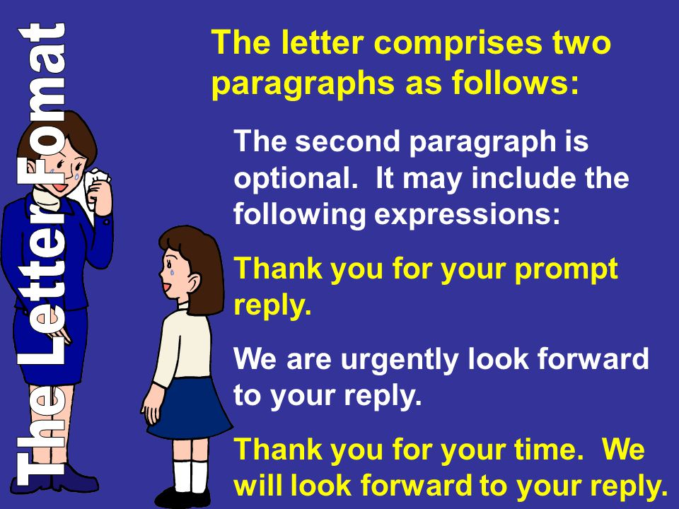The letter comprises two paragraphs as follows:
